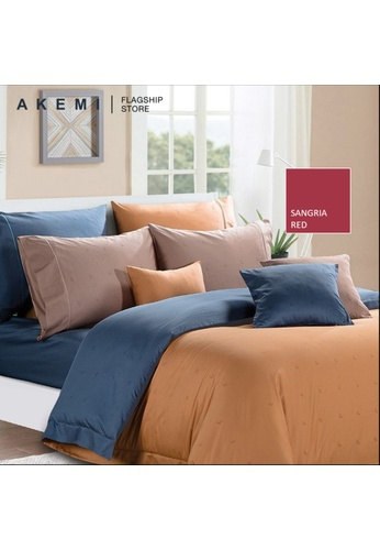 AKEMI red Akemi Cotton Select Affinity - Raelle Sangria Red Fitted Sheet Set. A0D16HL274A099GS_1