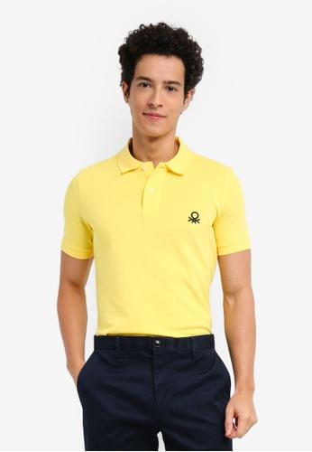 United Colors of Benetton 黃色 基本款Logo Polo衫 4D579AA6B06796GS_1