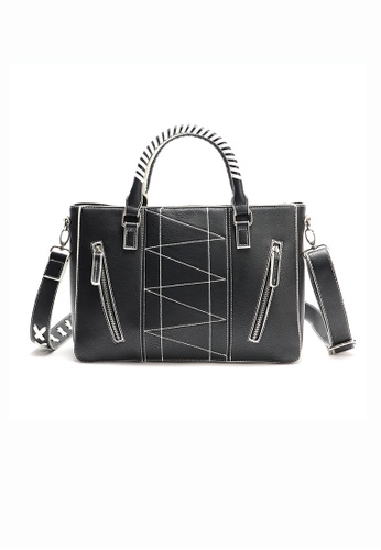 1270c95639 A FRENZ black Women Stitch Black Top Handle PU Leather Handbag Shoulder Bag  B8113ACF5E42CBGS 1