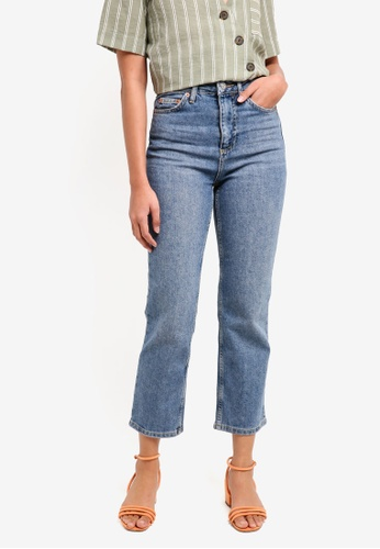 TOPSHOP blue Moto Mid Blue Straight Leg Jeans E0C19AA4527B7DGS_1