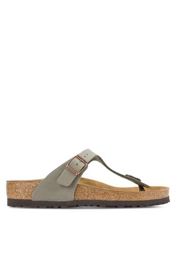 Birkenstock grey Gizeh Birko-Flor Nubuck Sandals BI090SH61HNIMY_1