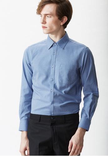 Life8 blue Classic Dobby Check Long Sleeve Shirt-11090-Blue LI283AA11ABCSG_1