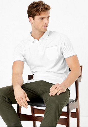 MARKS & SPENCER white Autograph Supima® Cotton Polo Shirt 8FC6AAA9D58940GS_1