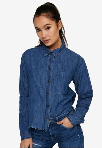 JACQUELINE DE YONG blue Poppy Life Raw Hem Shirt 77660AAB3D130EGS_1