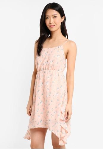 ZALORA pink Asymmetrical Ruffle Dress 4BD63AA4DE746BGS_1