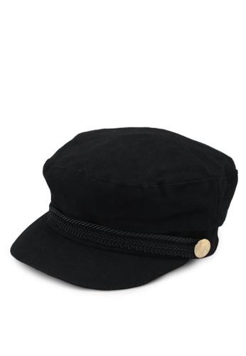 TOPSHOP black Cotton Trim Baker Boy Hat 977E6ACD887586GS_1