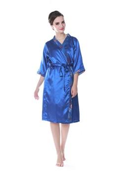 Batik Kimono Satin Set-Blue