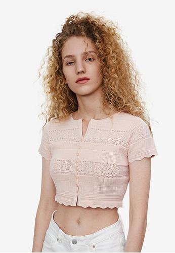 Urban Revivo pink Open Knit Work Cropped Cardigan 3D709AA130B326GS_1
