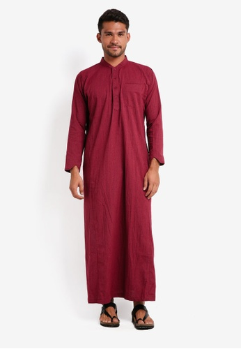 Lubna red Stripe Jubah D17E3AA23DF830GS_1