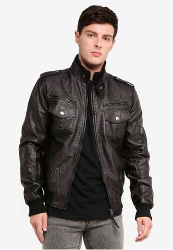 Indicode Jeans 黑色 素色長袖仿皮外套 17C80AAF73F854GS_1