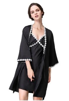 SMROCCO black Lottie 2 in 1 Robe + Dress Sleepwear Lingerie L8001-B  6ADB8AA6C786CCGS 1 654875635