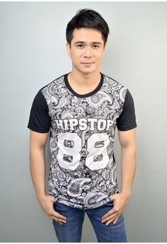 Hipstop Paisley Print Cotton T-shirt