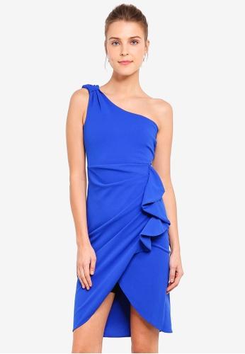 31d651032e Shop Goddiva Asymmetric Ruffle Pencil Dress Online on ZALORA Philippines