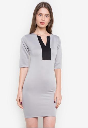 Ashley Collection grey Stacy Split Neckline Bodycon Dress AS637AA0JPPHPH_1