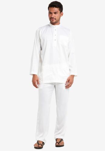 Lubna white Matte Satin Baju Melayu Cekak Musang 3F065AA2C23569GS_1