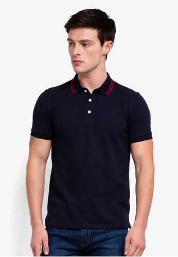 UniqTee navy Double Striped Collar Polo Shirt EF72EAA8A68018GS_1