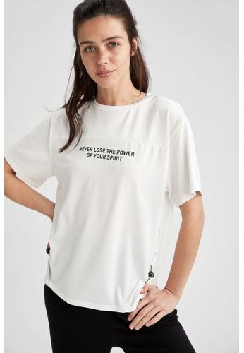 DeFacto white Short Sleeve Athleisure T-Shirt 9ED8FAAD691F16GS_1