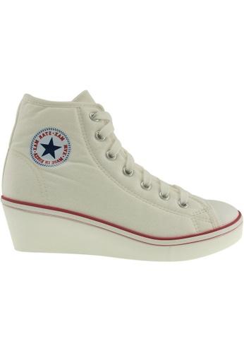 Maxstar white Maxstar Women's N7H Zipper Canvas Low Wedge Heel Sneakers MA164SH92PQTSG_1