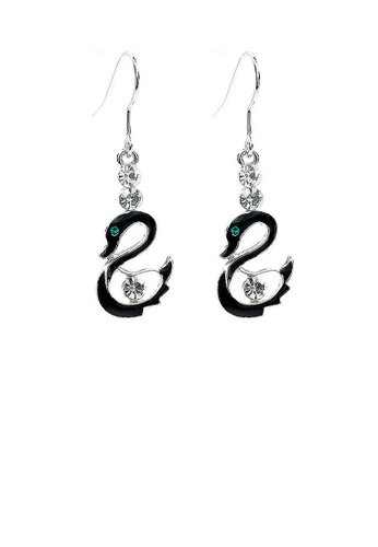 Glamorousky silver Black Swan Charm Earrings with Silver Austrian Element Crystals 0ECF2ACF87A0CCGS_1