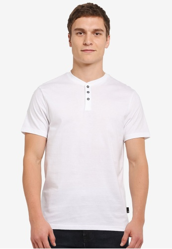 Burton Menswear London white Short Sleeve White Grandad T-Shirt BU964AA0SILUMY_1