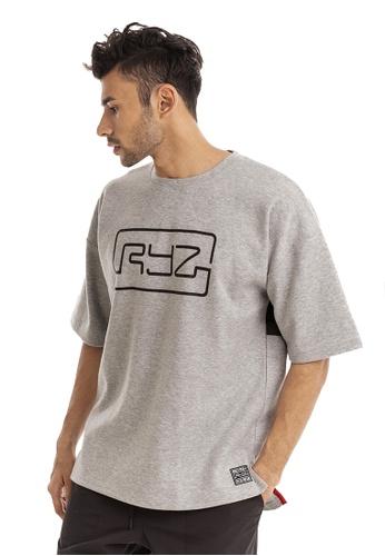RYZ grey RYZ Border Grey Short Sleeve Sweat T-Shirt. 58E70AA6360288GS_1