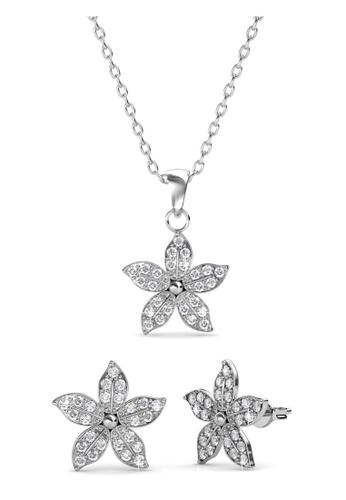 Her Jewellery silver Swarovski® Crystals - Bloom Set (18K White Gold Plated) Her Jewellery HE581AC0R9U8MY_1
