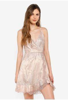 841e1c0d INDIKAH gold Asymmetrical Hem Ruffle Glitter Mini Dress DABD7AA0147A89GS_1