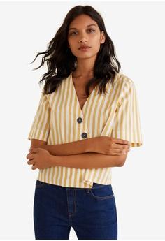 5c5df47712 Mango yellow Buttoned Cotton Shirt 56B53AA079485AGS 1