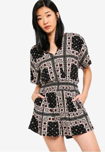 Something Borrowed black and multi Kimono Sleeves Playsuit 50209AAD6A6F95GS_1