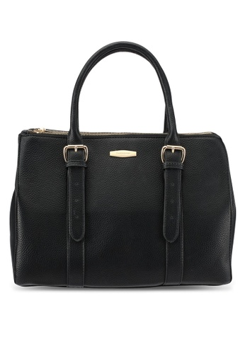 Perllini&Mel black Faux Leather Double Handle Tote Bag PE444AC0SBKTMY_1