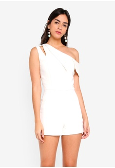 3566e9d7aca Lavish Alice white One Shoulder Asymmetric Playsuit CB156AA69CFA33GS 1