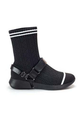Shu Talk 黑色 Amaztep 間條型格襪靴 D01B7SHA06BBD7GS_1