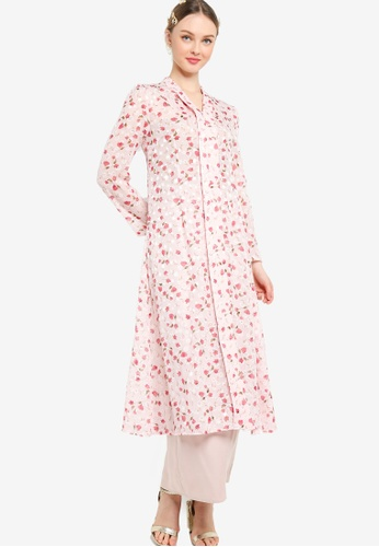 Lubna pink Flowy Textured Kebaya FA997AACC64748GS_1
