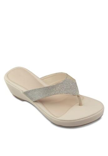 閃飾楔形夾腳涼鞋, 女zalora 心得鞋, 鞋