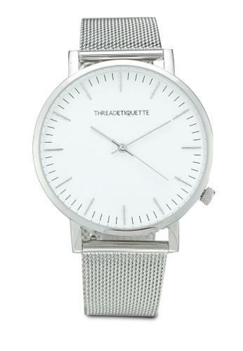 Thread Etiquette silver Classic-Silver Mesh/White Face Timepiece B5728AC1C19865GS_1