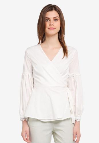 Zalia white Lace Trm Puff Sleeve Wrap Top 92D2DAABFBCE68GS_1