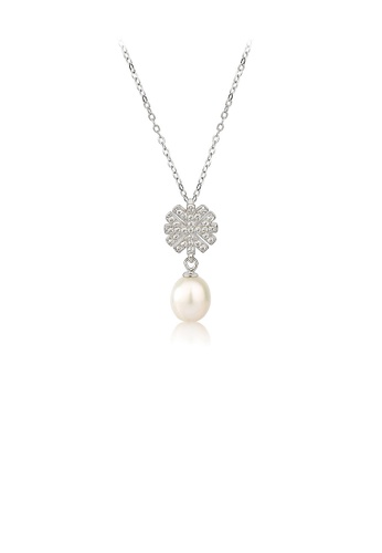 Glamorousky white 925 Sterling Silver Fashion and Elegant Snowflake White Freshwater Pearl Pendant with Cubic Zirconia and Necklace 1CCE3ACB8A9873GS_1