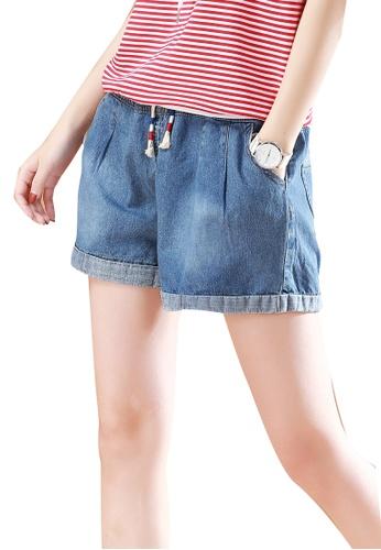b0abb53415 A-IN GIRLS blue Elastic Waist Washed Denim Shorts 63013AA1710006GS_1