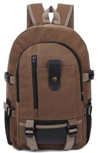Lucky JX brown Korean Retro Canvas Plain Backpack 1BD57AC968742AGS_1