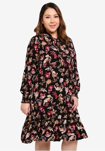 OVS multi Plus Size Foliage Pattern Dress 69825AA7846718GS_1