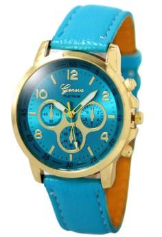 Geneva Sophie AquaBlue Leather Strap Watch