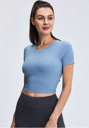Trendyshop blue Quick-Drying Yoga Fitness Sports Tee With Bras Pads 64E71USC7407D5GS_1