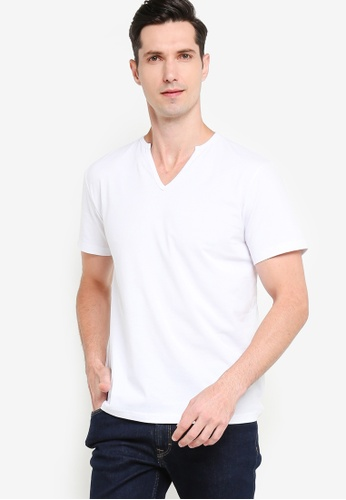 ZALORA BASICS 白色 Short Sleeve Notch Neck T-shirt 42697AA3731A05GS_1
