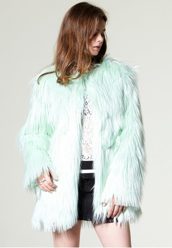 Storets green Nancy Faux Fur Coat ST450AA0GJSYSG_1