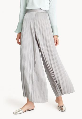 Pomelo grey Pleated Wide Leg Satin Pants - Gray 281F2AA926F682GS_1