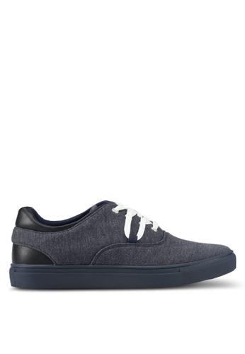 JAXON navy Mixed Materials Casual Sneakers B7CD5SHCBB6BB5GS_1