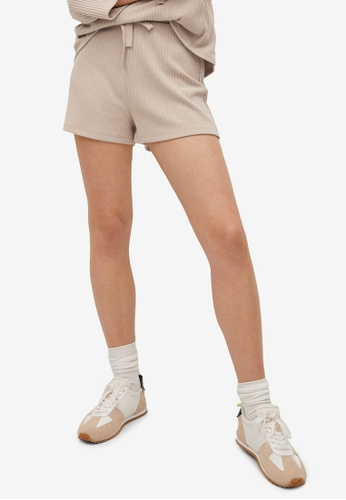 Mango 褐色 Ribbed Knit Shorts 22E39AA7B6B242GS_1