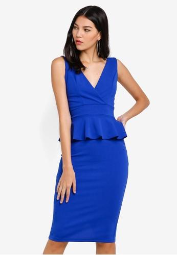 WALG blue Peplum Midi Dress C3CEDAA4538B92GS_1