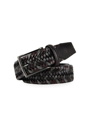 Barnns red Barnns Limited Hand Woven Cowhide Leather Belt in Wine CC68BACB230201GS_1