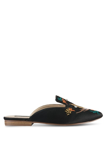 ZALORA black Embroidered & Beaded Slippers E4AC6ZZ3A120D9GS_1